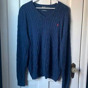 POLO Men's Blue V-neck Silk Sweater SZ XL